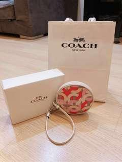 Authentic Coach Kristin Chainlink Round Coin Purse Wristlet Key Chain