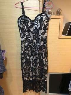 蕾絲細肩帶晚宴 洋裝連身裙連衣裙 過膝裙名媛