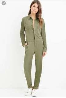 F21 OLIVE UTILITY JUMPSUIT