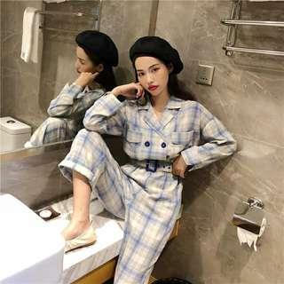 休閒連衣褲子女春裝2019款韓版chic雙排扣高腰綁帶格子工裝連體褲