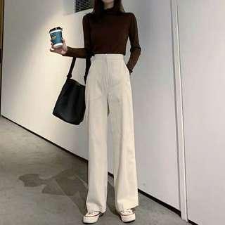 褲子女新款韓版chic高腰寬鬆燈芯絨休閒長褲百搭顯瘦闊腿褲潮