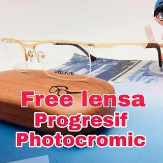 Free lensa progressive photocromic frame kacamata police 059