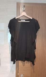 #Endgameyourexcess Zara black ruffles knit blouse