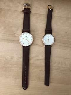 DW inspired watches (brown strap, gold lined)