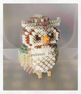 owl 貓頭鷹拼豆公仔