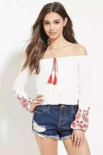 FOREVER 21 Embroidery Tassel Off-shoulder Top