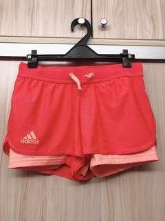 🚚 adidas橘紅色運動短褲/ M號