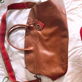 Authentic Longchamp leather travel bag