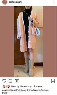 Pink Knitted Long Coat