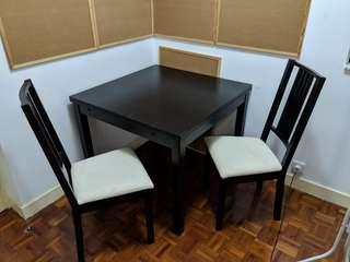 IKEA BJURSTA EXTENDABLE DINING TABLE + 2 CHAIRS