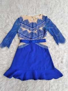 Three floor blue lace dress