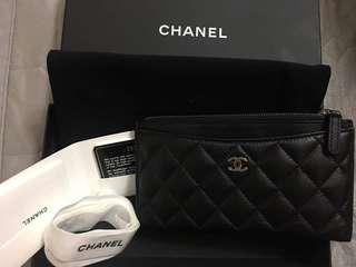 🚚 近新 Chanel 荔枝銀扣扁長夾
