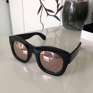 Illesteva x N.E.R.D Black Sunglasses with Rose Gold Mirror