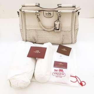 fd009461d7a9cf Auth COACH Madison Caroline Pleated Leather Structured Bag Chalk Off White  GUC