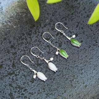 natural jasper / Hetian jade tulip earrings