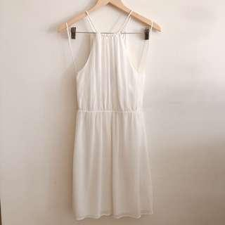 Zara TRF white crepe tie neck halter dress