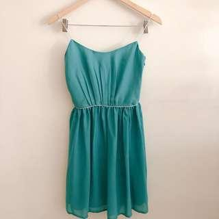 Mango teal/ emerald green dress