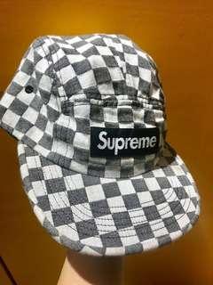 Supreme 18ss checkerboard camp cap 18ss 黑白格仔 cap帽