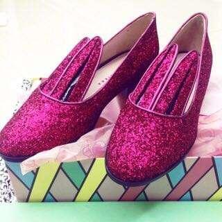 正全新Minna Parikka 粉色亮片兔耳鞋兔耳造型厚底鞋真皮37/23.5/24