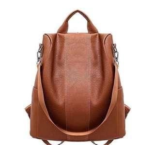 Brown leather bagpack