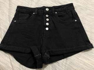 🚚 Zara Black High Waist Jeans Shorts