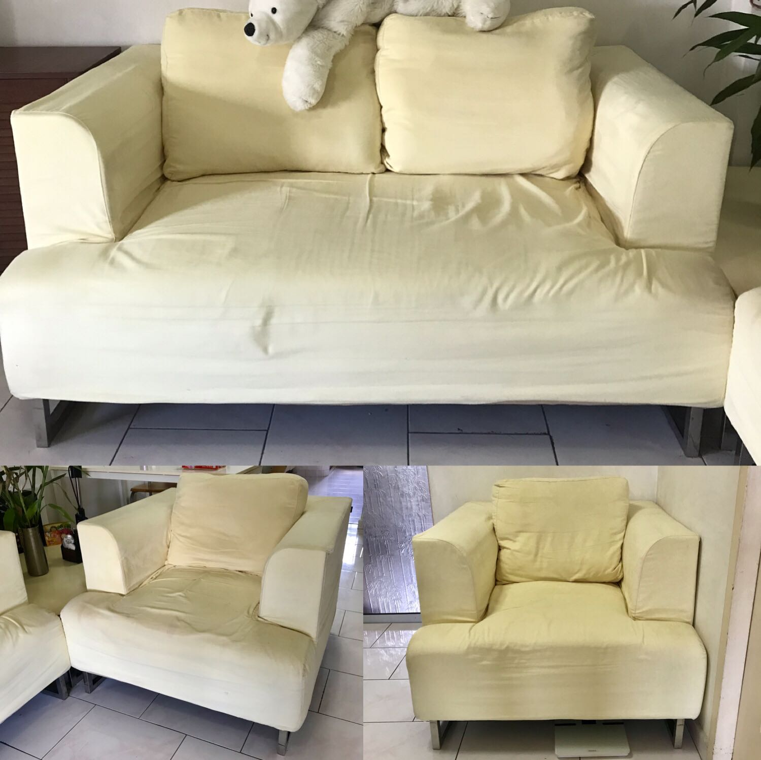 2 Seater 2x Single Sofa Set In Light Yellow