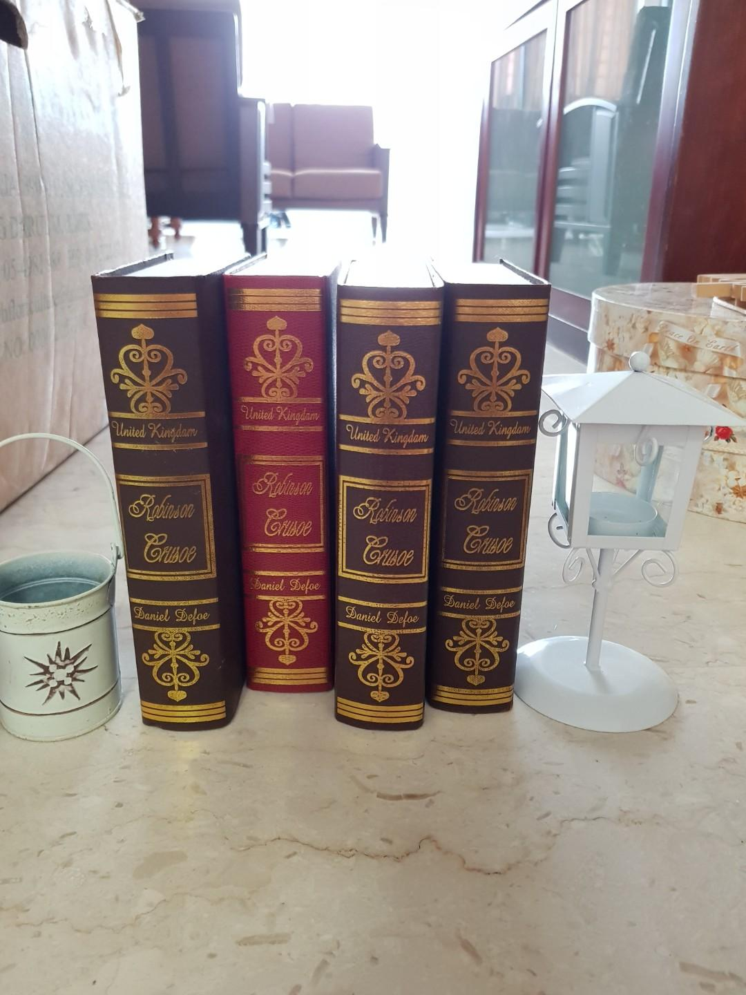 4 pcs vintage fake books for decor