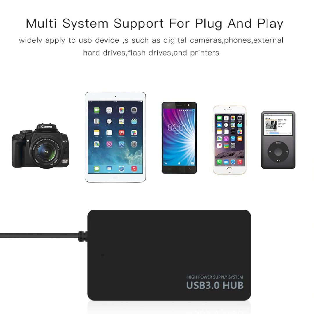 4-Port USB 3.0 Hub High Speed Adapter Splitter Converter Cable Laptop Parts for Macbook