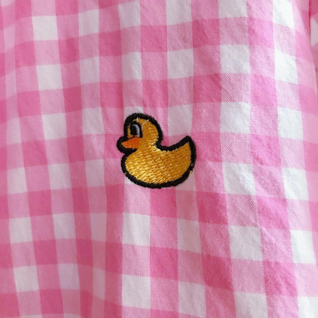【斷捨離-8成新】粉色格子刺繡小鴨可愛襯衫