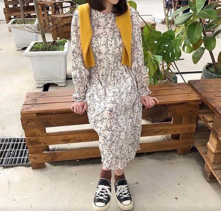 韓國碎花長洋裝