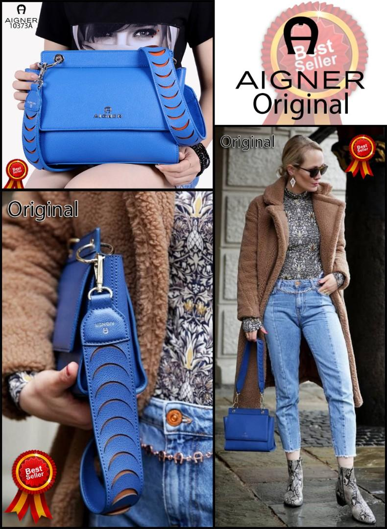 AIGNER The CAROL Shoulder Bag in S impresses is very Cool Design Women Bag Cow Soft Leather Like Ori Hardware Silver(10373A)