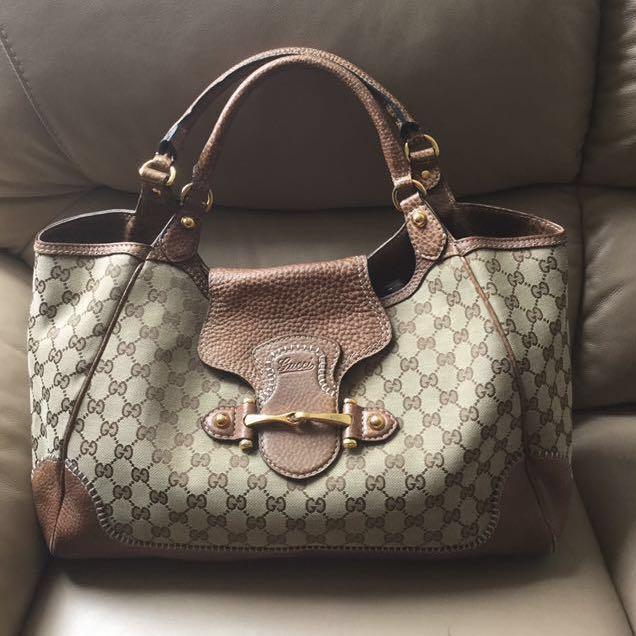 a63991eb0fd Auth GUCCI Guccissima Monogram Canvas Brown Pebbled Leather Bag ...