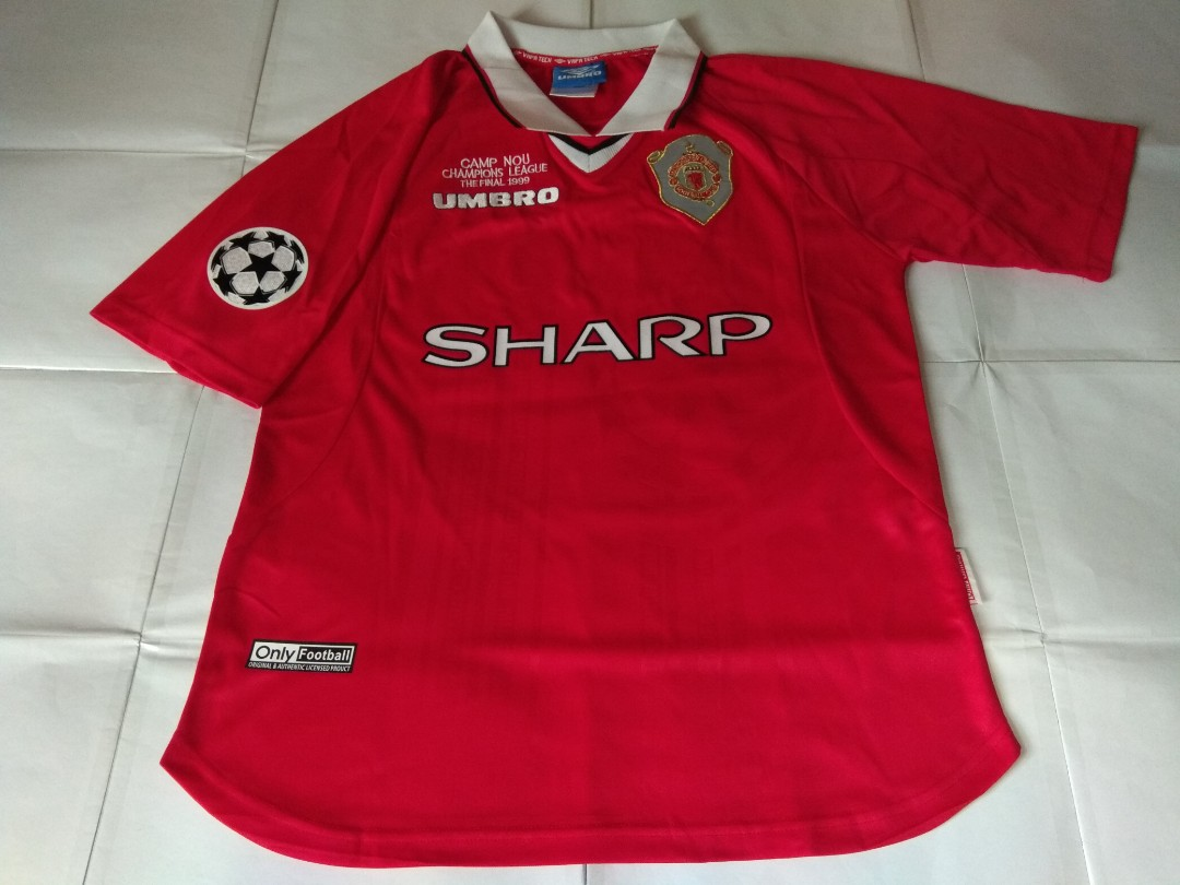 e2e0f525a58 Authentic Never Been Worn Manchester United Umbro 1999 Champions League  Final Football Jersey With Solskjaer 20 Print