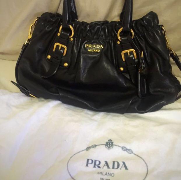 0e1f848a167868 Authentic Prada BR4259 Soft Calf Nero Black Leather Tote/Shoulder ...