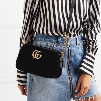 36898d68ff93 BN Gucci Marmont Velvet Small Shoulder Bag, Luxury, Bags & Wallets ...