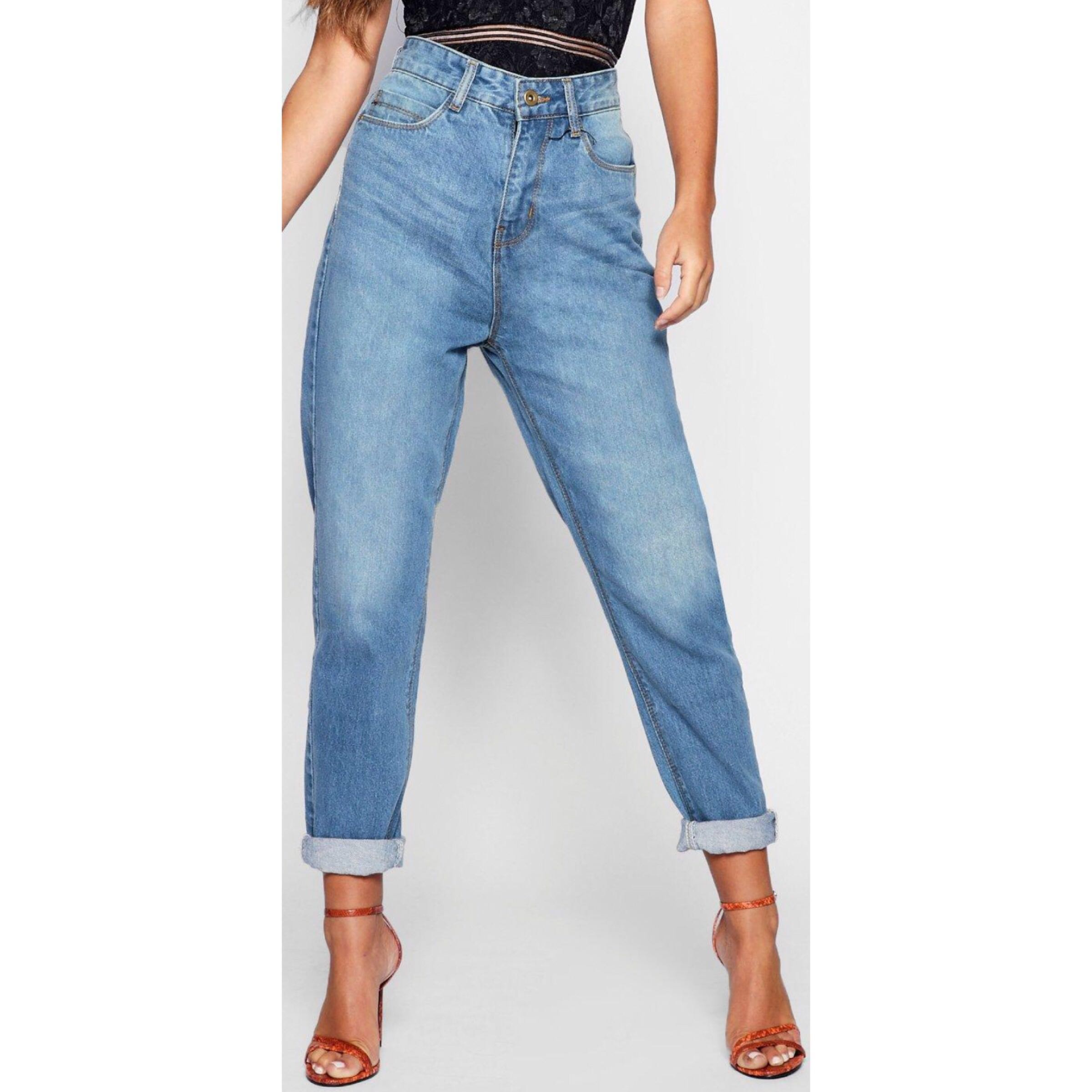 d7cf4b8be2ea BooHoo Ultra High Waisted Mom Jeans, Women's Fashion, Clothes, Pants ...