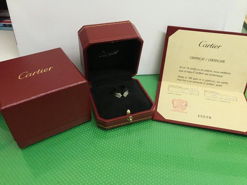 二手Cartier天使之吻白金鑽石戒指/$9000可小議(正品有全套證書)