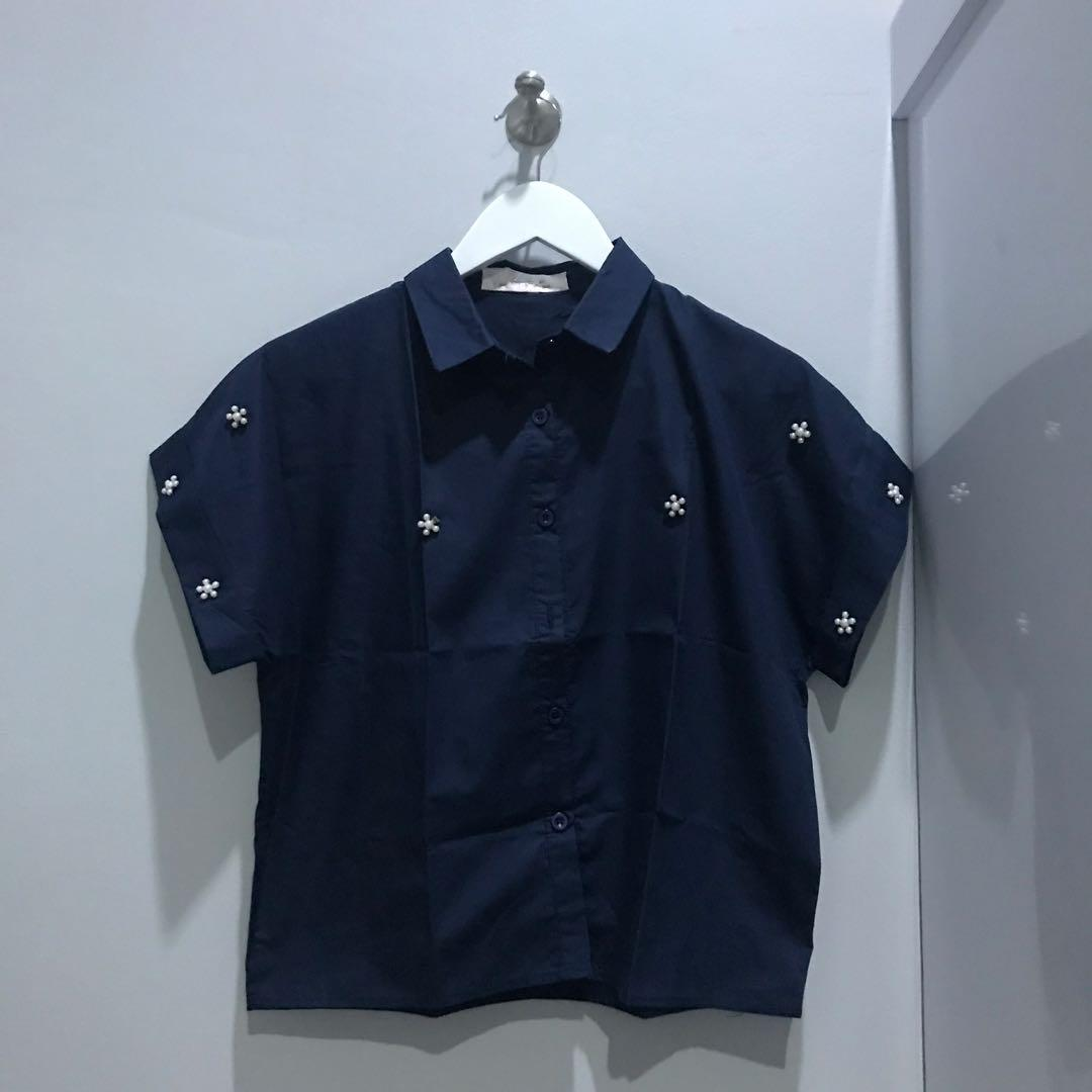 Crop Navy Shirt