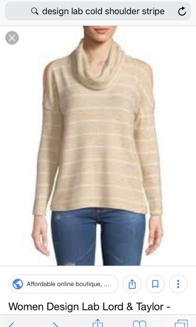 Design lab by lord and Taylor cold shoulder cowl neck top size xs