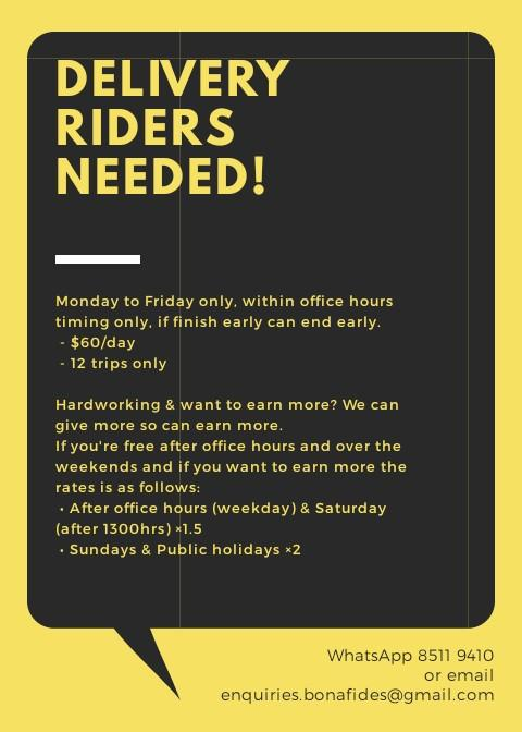 URGENT HIRING : Dispatch/Delivery Rider Needed!