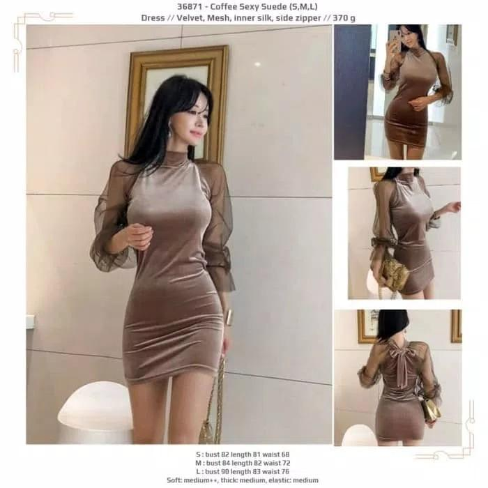 Dress 36871 - Coffee Sexy Suede