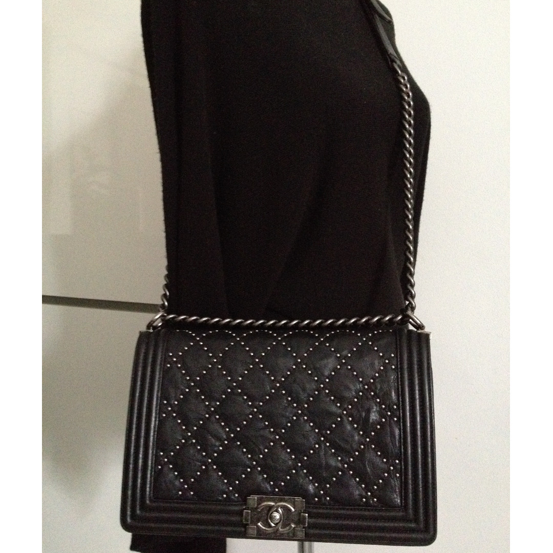1208accbc20b4a Chanel Boy Flap Bag Quilted Lambskin New Medium At 1stdibs. Photo. Full Set  Mint Chanel Black Stud Quilted Calf Skin Ruthenium Chain