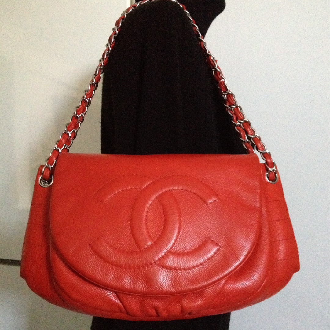3c231d44432 Full Set Rare CHANEL Red Caviar CC Silver Chain Jumbo Large Flap Bag ...