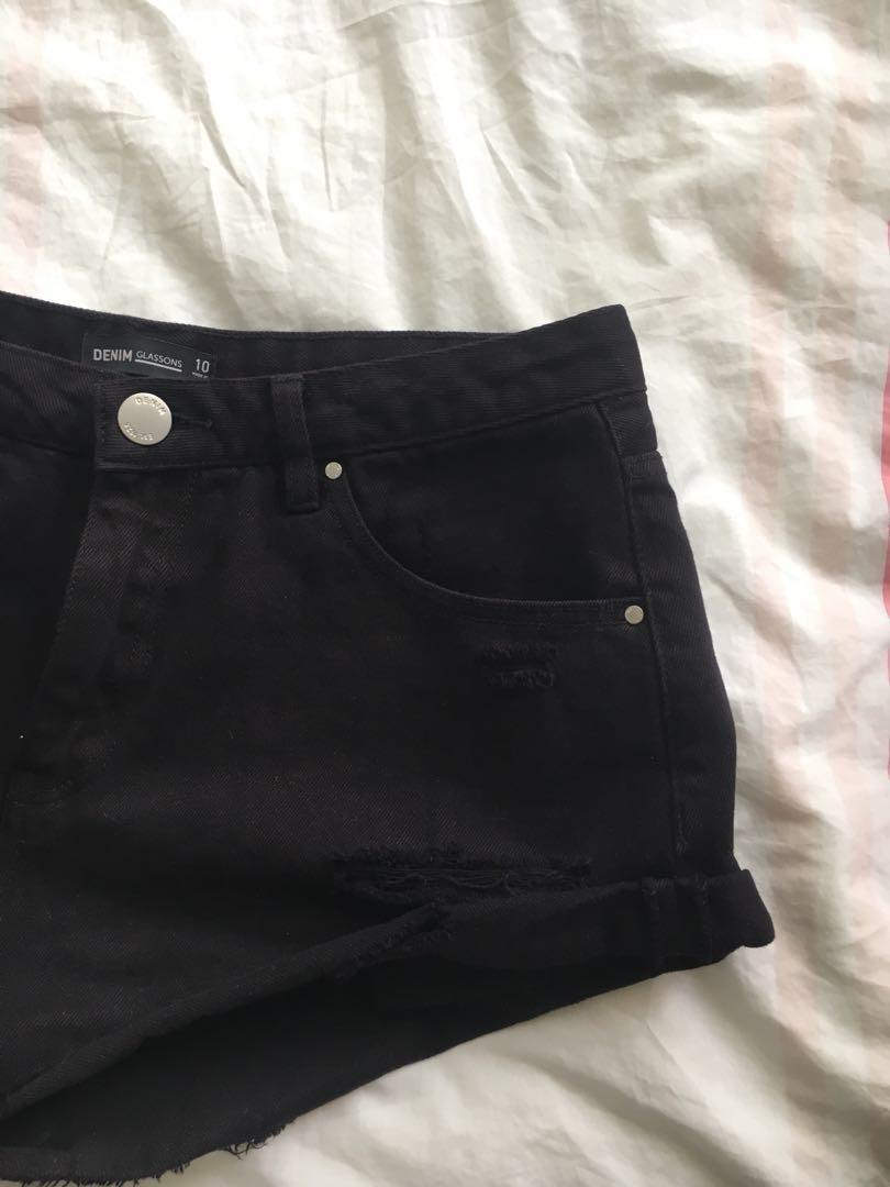 Glassons Black Denim Cheeky Shorts Mid Rise Rips Front