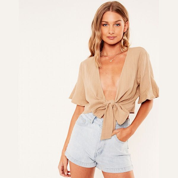 39ea379eea862 Glassons Frill Sleeve Tie Front Top