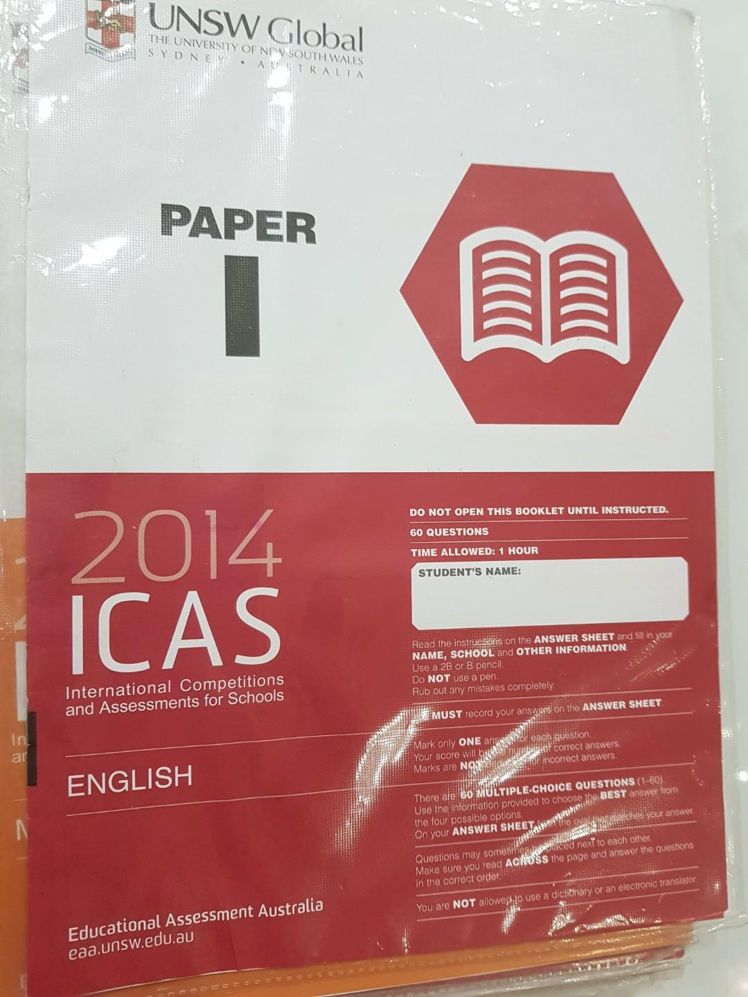 ICAS ENGLISH /SCIENCE /MATHEMATICS FOR PRIMARY AND SECONDARY SCHOOL