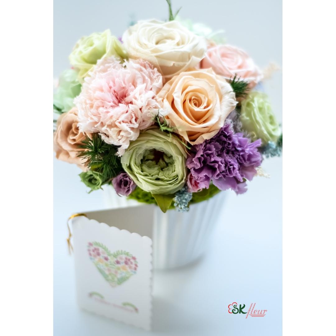 Mini Round Vase Arrangement Pastel Pink Gardening Flowers Bouquets On Carousell