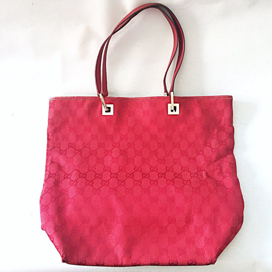 7139a23ad005 Pending) Auth Vintage GUCCI Red Monogram GG Large Fabric Bucket Bag ...