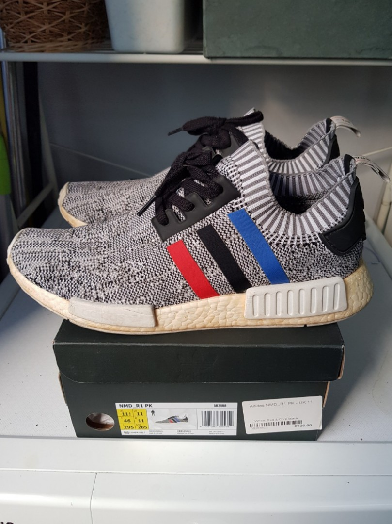 fd77cf53afa *Pre-Loved* 100% Authentic Adidas NMD_R1 Primeknit 'Tri-Colour' WHITE Shoes