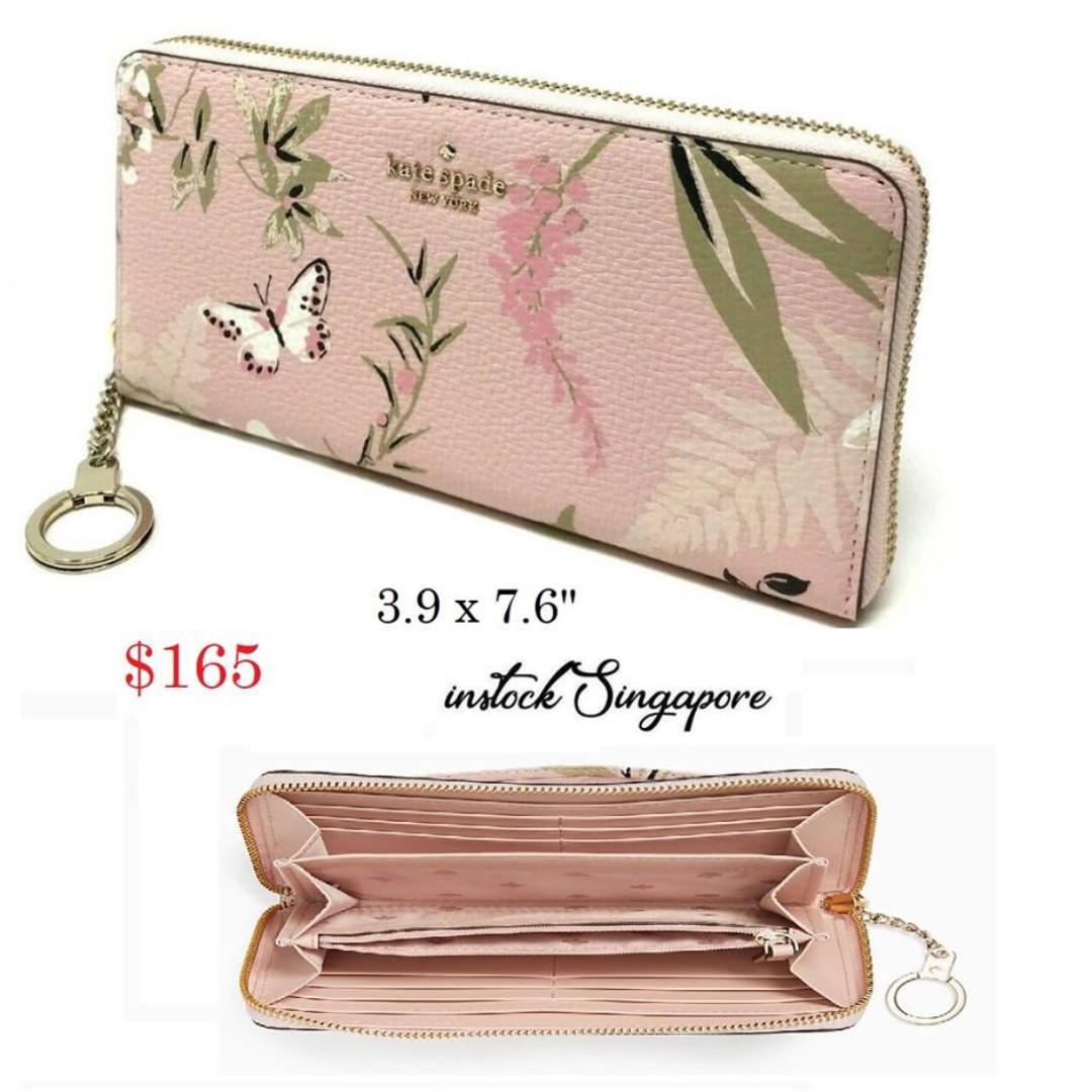 READY STOCK- AUTHENTIC-NEW  Kate Spade New York Briar Lane Neda Botanical Pink Floral Leather Wallet WLRU5225
